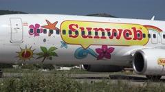 4K Big aircraft prepare takeoff Skiathos airport jetliner journey continental  Stock Footage