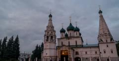 Church of Elijah the Prophet in the evening in Yaroslavl, Russia - stock footage
