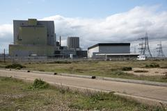 Dungeness Nuclear Power stations A and B built on a shingle beach at Dungenes Stock Photos