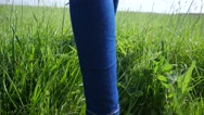 Stock Video Footage of Tourist teen age girl legs walking on green meadow grass low camera