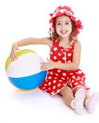 cute little girl with a ball - stock photo