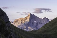 Italian dolomites during a chilly sunrise - stock photo