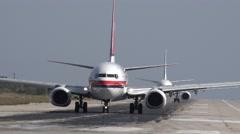 4K Closeup turbine jet taxi airport piste prepare takeoff airplane air plane day Stock Footage