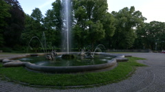 The beautiful fountain from Friedensengel in Munich Stock Footage