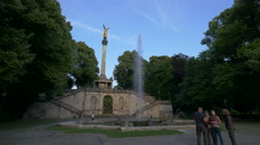 Visiting the Angle of Peace monument in Munich Stock Footage