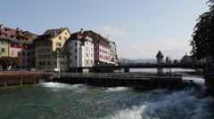 Needle Dam on the Reuss River in Lucerne Stock Footage