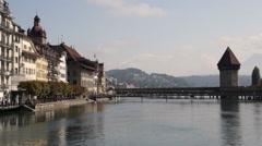 Chapel Bridge in Lucerne Stock Footage