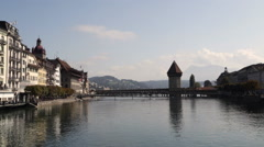 Chapel Bridge in Lucerne Stock Footage