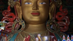 Maitreya Buddha at Tiksey Monastery in Ladakh, India. Stock Footage