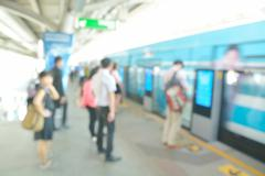 Abstract blur or defocus Background of People waiting for Boarding Skytrain Stock Photos