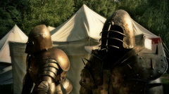 Knight's armor closeup FX medieval pageant event Stock Footage