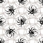 Spiders on Webs seamless pattern - stock illustration