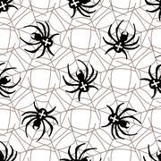 Spiders on Webs seamless pattern Stock Illustration