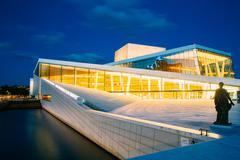 Exterior of White Building of The Oslo Opera House Is The Home O - stock photo