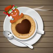 gingerbread with santa claus hat in cup of hot coffee - stock illustration