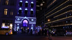 Fifth Avenue Decorated for Christmas Stock Footage