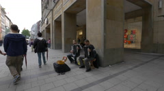 Two men playing the accordion in Munich - stock footage