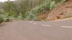 Aerial of a mountain road with euclypturs trees in a forest. Madeira, Portugal Stock Footage