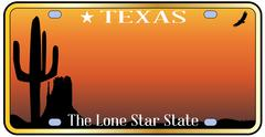 Texas License Plate - stock illustration