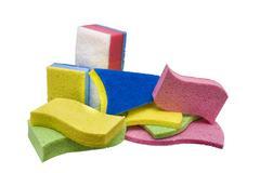 showcase of many sponges - stock photo