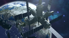 Animated space station with earth 4K Stock Footage
