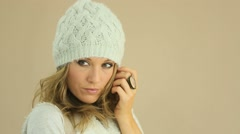 Stock Video Footage of Beautiful model in winter outfit during photo shoot