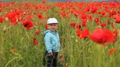 Stock Video Footage of Happy funny baby child smile in poppies field playing with a flower, laughing