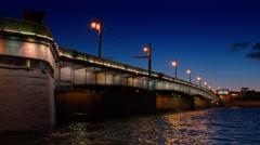 White night view of Neva river with bridge in Saint-Petersburg - stock footage