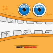 Halloween monster face - stock illustration
