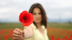 Woman offering a poppy flower, taking back and enjoy fragrance, flower in focus - stock footage