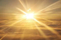 Sky, sunset sun and clouds - stock photo