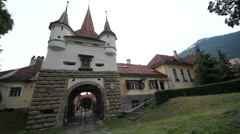 Ecatherina Gate, entrance to the medieval city of Brasov Stock Footage