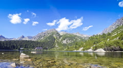 Picturesque view of Popradske pleso Lake in High Tatras, Slovakia Stock Footage