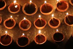 Stock Photo of indian clay oil lamps, festival season