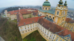 Roofs, inner yard of Melk Abbey, Austria. Aerial view of Baroque-style building Stock Footage