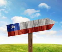 Chile wooden direction sign on nature background - stock illustration