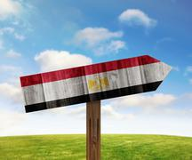 Egypt wooden direction sign on nature background - stock illustration