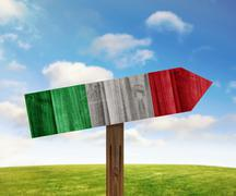 Italy wooden direction sign on nature background Stock Illustration