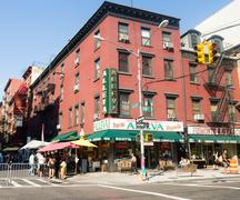 Typical italian store and deli at little Italy in New York City Stock Photos