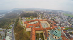 Aerial shot of beautiful Melk Abbey in Austria. River Danube. Cold rainy weather Stock Footage