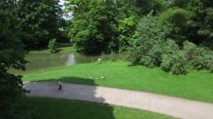 Aerial view of the Englischer Garten of Munich Stock Footage