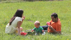 Young family, parents and baby child enjoy watermelon, nature, picnic, lifestyle - stock footage