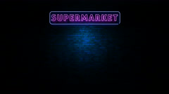Supermarket Neon Ligtht Sign Flickering at Wall in the Night Arkistovideo