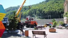 Loading of small tractor Bobcat to truck in Sochi. Stock Footage