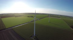 Drone aerial footage of wind turbine windmills during sundown 4k Stock Footage