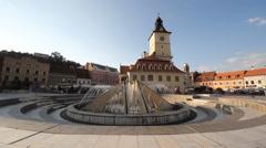Fountain in mediaval town center, Romania, Transylvania, Romania, timelapse Stock Footage