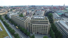 Aerial view of Franz-Josef-Strauss-Ring in Munich, Germany Stock Footage