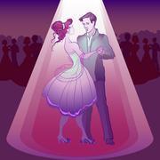 Couple dancing waltz - stock illustration