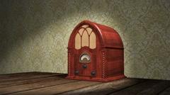 Vintage Wooden Radio Stock Footage