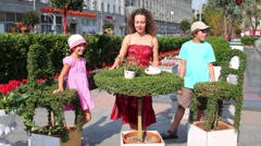 Mother with two children on Festival Moscow jam near Red square Stock Footage